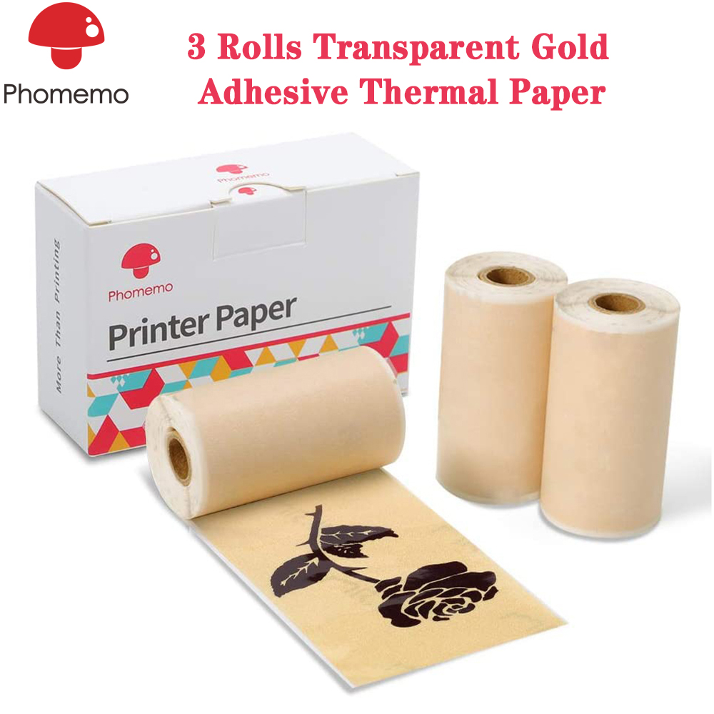 Phomemo 3 Rolls Adhesive Transparent Gold Thermal Paper For Phomemo M02/M02S Mini Bluetooth Pocket Printer 53mm X 3.5m