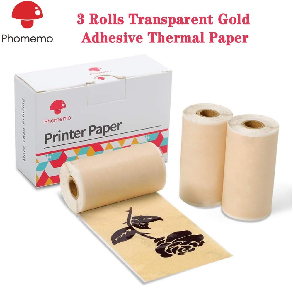 Phomemo 3 Rolls Adhesive Transparent Gold Thermal Paper For Phomemo M02/M02S Mini Bluetooth Pocket Printer 53mm X 3.5m
