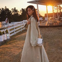 Photo Shoot CHIC Sense of Design Elegant Sunset Yellow Long Fold down Collar Single Breasted Waist Hugging Lace up Wool Woolen J