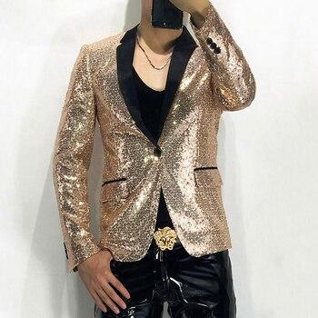 Sequin Black Gold Silver Men Nightclub Show Serve Ktv Bar Uniform Host BlingblingChaquetas Hombre Spangle Party Blazer