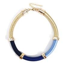 Manroda colar feminino, colar feminino simples de corda feita à mão, colar de ouro, gargantilha azul