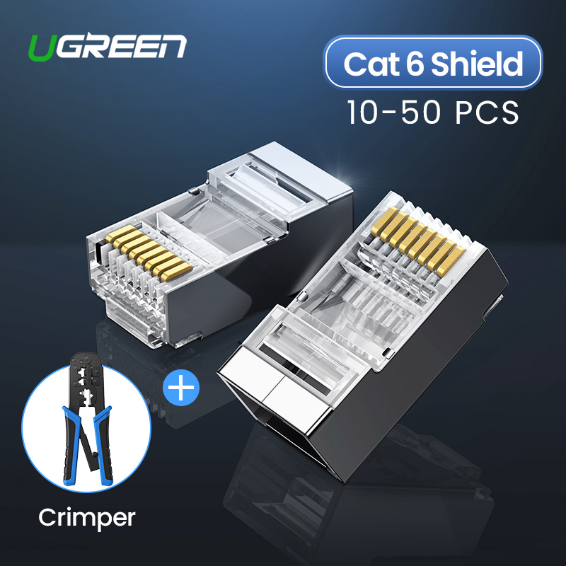 Ugreen Cat6 RJ45 Connector 8P8C Modular Ethernet Cable Head Plug Gold-plated Cat 6 Crimp Network RJ 45 Crimper Connector Cat6