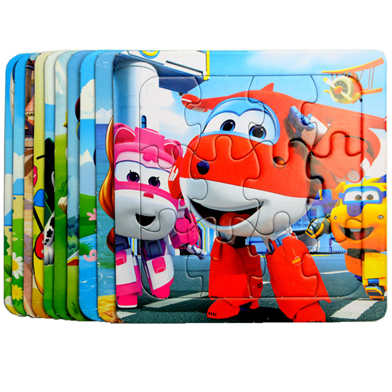 Puzzles Famous Cartoon Super Wings Educational Toy For Children For Baby 16 PCS Puzzle 3D Game  Learning Toys For Children