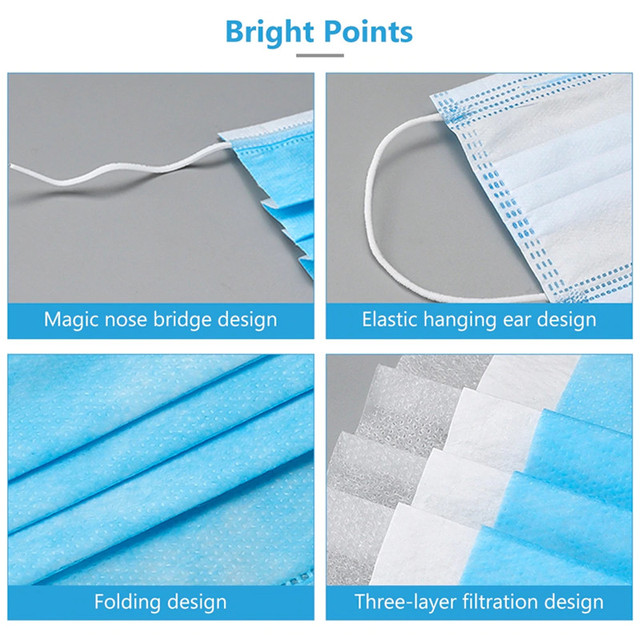 50pcs Disposable N95 Mask 3 Ply Face Mouth Masks Flu Nonwoven Anti Dust Earloops Filter Masks 5