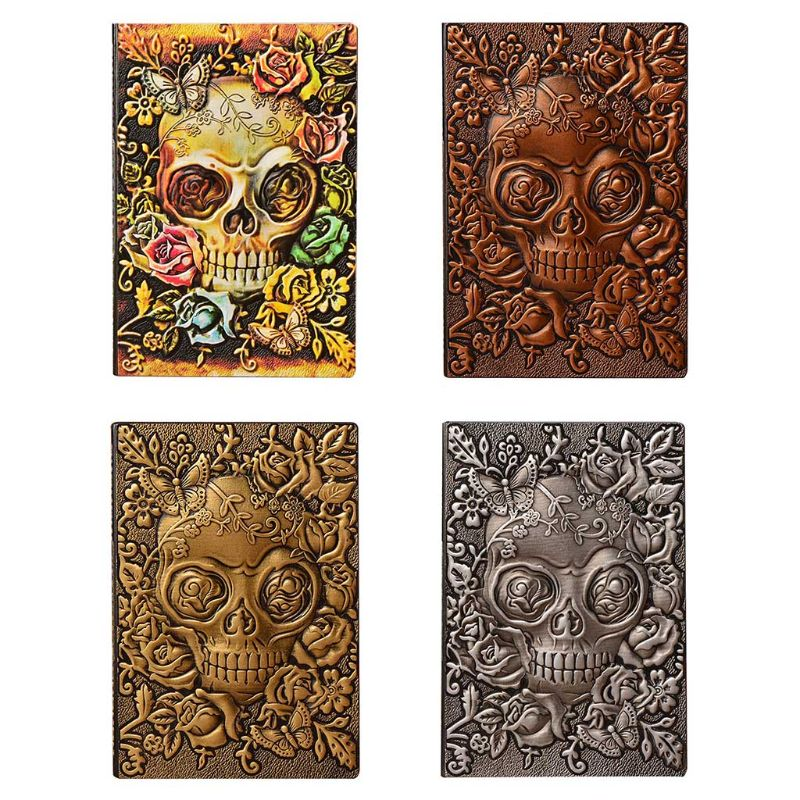 Creative Skull Flower Embossed A5 Leather Notebook Journal Notepad Travel Diary Planner School Office Supplies|Notebooks|   - title=