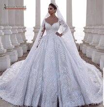럭셔리 레이스 긴 베일과 2020 공주 볼 가운 웨딩 드레스