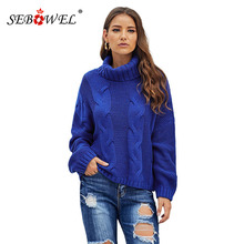 SEBOWEL Turtleneck Oversized Cable Knit Woman Sweater Warm Drop Shoulder Pullovers Sweaters for Female Casual Autumn Winter 2019 drop shoulder cable knit turtleneck sweater