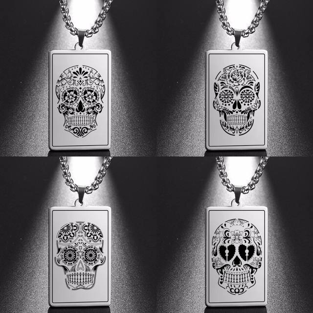 STAINLESS STEEL SUGAR SKULL NECKLACE