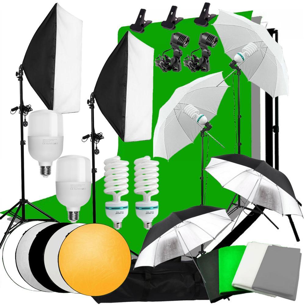 ZUOCHEN светодиодный светильник для фотостудии, софтбокс, светильник ing Kit, 4 задника с поддержкой 10 футов, комплект для фотосъемки, съемки в Фейс...