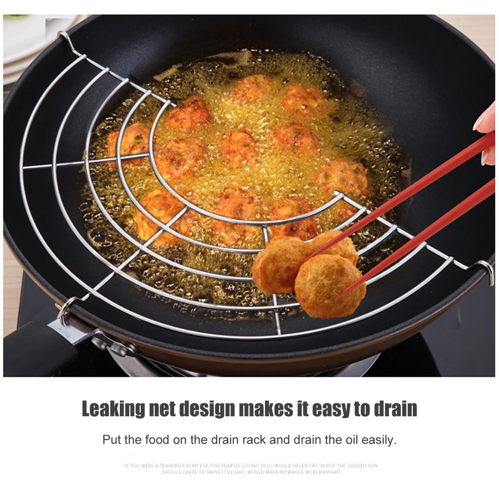 1Pc High Quality Kitchen Semi-Circular Stainless Steel Drain Oil Filter Frying Rack Steaming Rack Strong Durable Kitchen Gadget