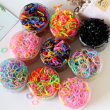 500/1000pcs/box Cute Candy Color Rubber Bands for Kids Hair Bands