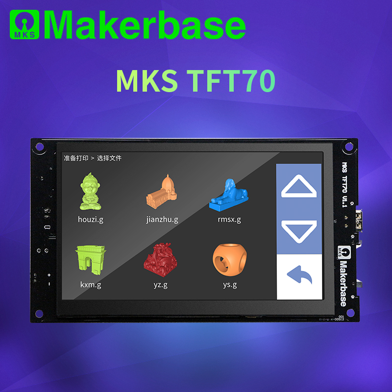 Makerbase MKS TFT70  touch screen smart display controller 3d printer parts 7 0 inch wifi wireless Control preview gcode