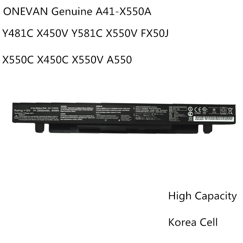 Bateria nova A41-X550A A41-X550 para asus x550, asus x550cl, asus x550c, x552c x550ca x552l, x550a x552l, 2600mah, 44w,