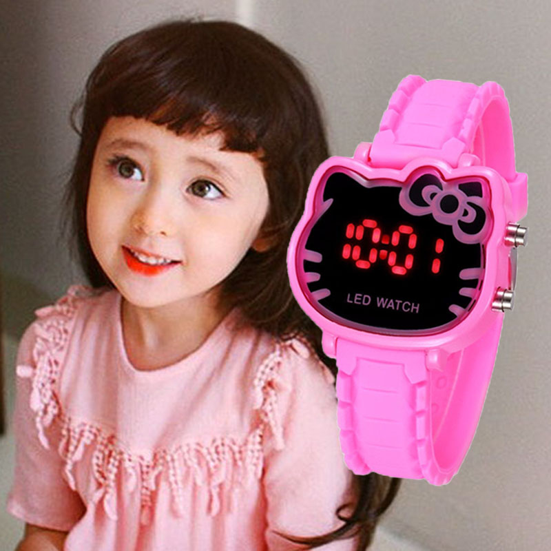 Hello Kitty Kids Watches Girls Children Watch Waterproof LED Digital Cute Clock Relogio Infantil Menina Montre Enfant Fille