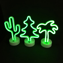 LED Neon Night Light Christmas Tree/Cat Star Moon Lamp USB/AA Battery Powered Home Wedding Party Gifts Décor Neon Lamp