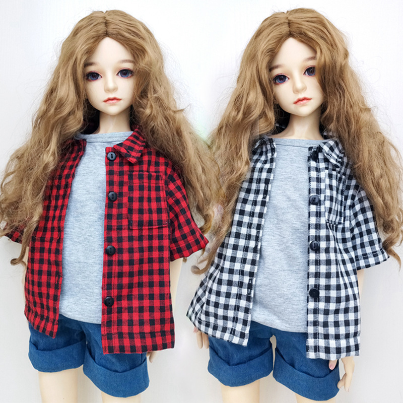 Popular <font><b>BJD</b></font> <font><b>1/3</b></font> <font><b>Clothes</b></font> 1/4 1/6 Plaid Tops Checker Checkered Blouse Dollhouse Accessories Children Baby Toys Clothing For Doll image