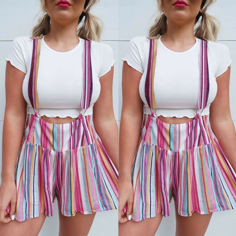 Fashion Women Summer Colorful Striped Shorts Suspender Trousers High Waist Sexy Suspenders Shorts For Gothic Girls