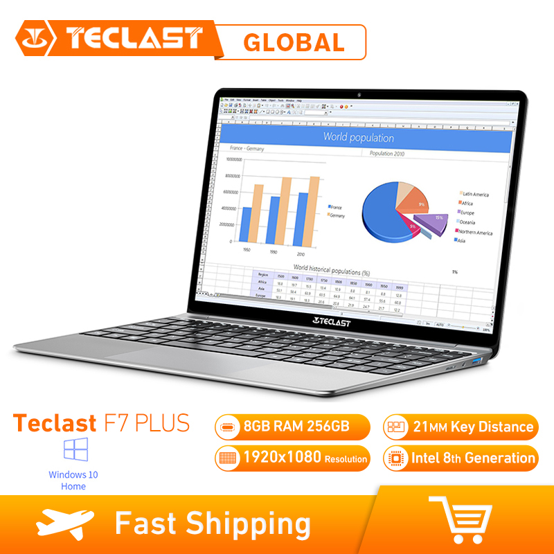 Teclast F7 Plus โน้ตบุ๊ค 14.0 นิ้ว Windows 10 Home Version Intel Gemini Lake N4100 Quad Core 1.1GHz 8GB RAM 256GB SSD แล็ปท็อป title=