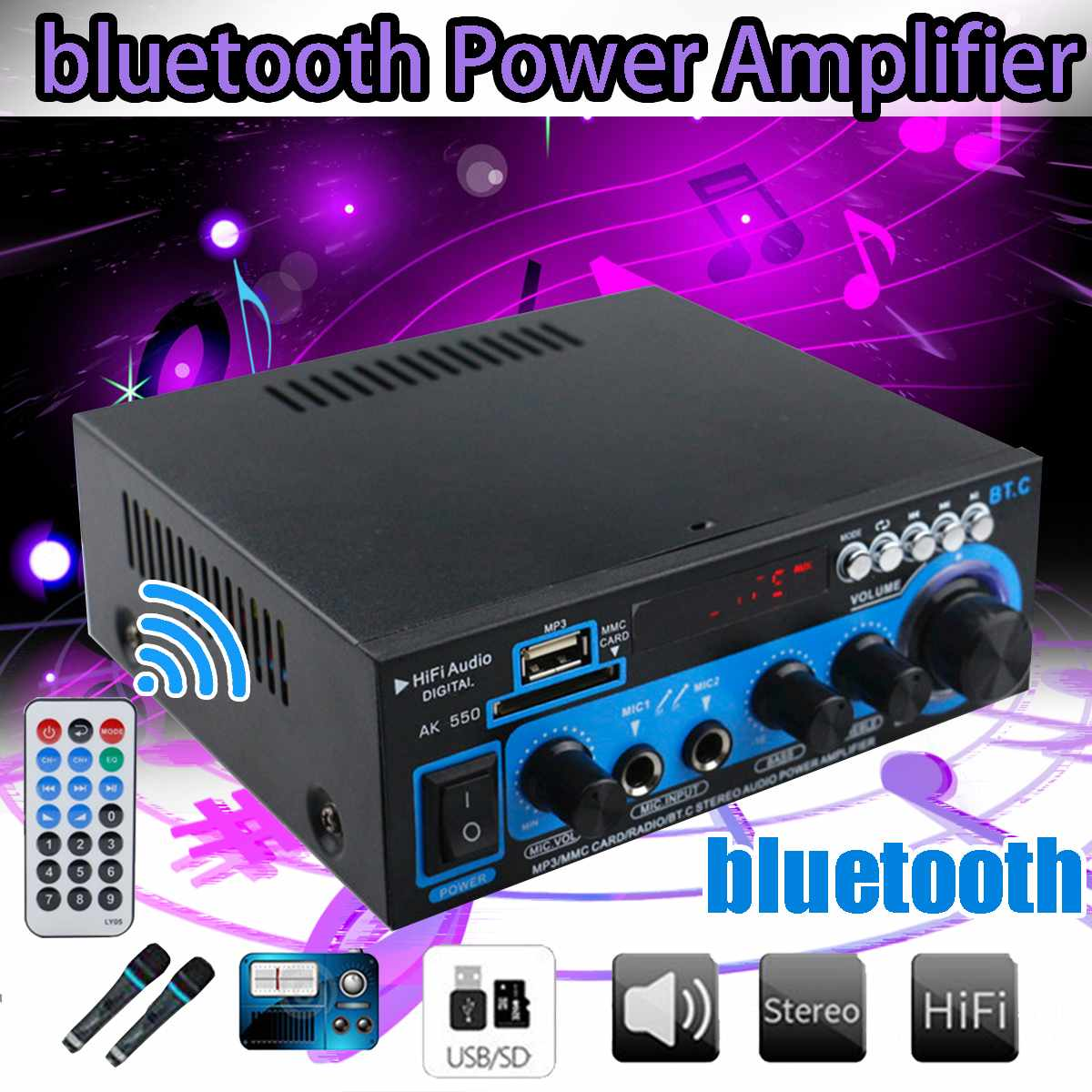 <font><b>800W</b></font> 2CH 110V 12V Mini <font><b>HIFI</b></font> bluetooth Audio Power <font><b>Amplifier</b></font> FM AUX USB SD 2 Mic Car Home Theater <font><b>Amplifiers</b></font> with Remote Control image