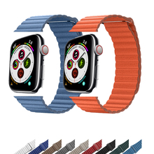42mm 38mm Leather Loop For Apple watch band strap 4 44mm 40mm iwatch correa 3/2/1 bracelet watchband Magnetic Closure wrist belt цена
