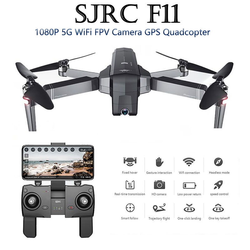 SJRC F11  GPS Drone Wifi FPV 1080P HD Camera smart follow Brushless RC Quadcopter 25 minutes Flight Time Foldable Selfie Dron