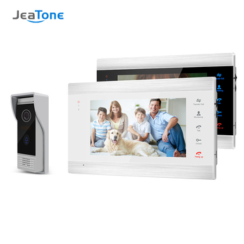 Jeatone 7 Inch TFT Wired Smart Video Doorbell Intercom System with 2 Night Vision Monitor + 1x1200TVL Rainproof Door Phone tmezon 7 inch tft wired smart video door phone intercom system with 2 night vision monitor 2x1200tvl rainproof doorbell camera