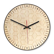 M.Sparkling Wall Clock Wooden Simple Kitchen Living Room Unique Gift Art Modern Design 11inch Horloge Watch Wall(China)
