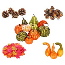 141Pcs/Set Simulation Pumpkin Acorn Maple Leaf Pinecone Thanksgiving Day Halloween Party Supplies for Photography Props(China)