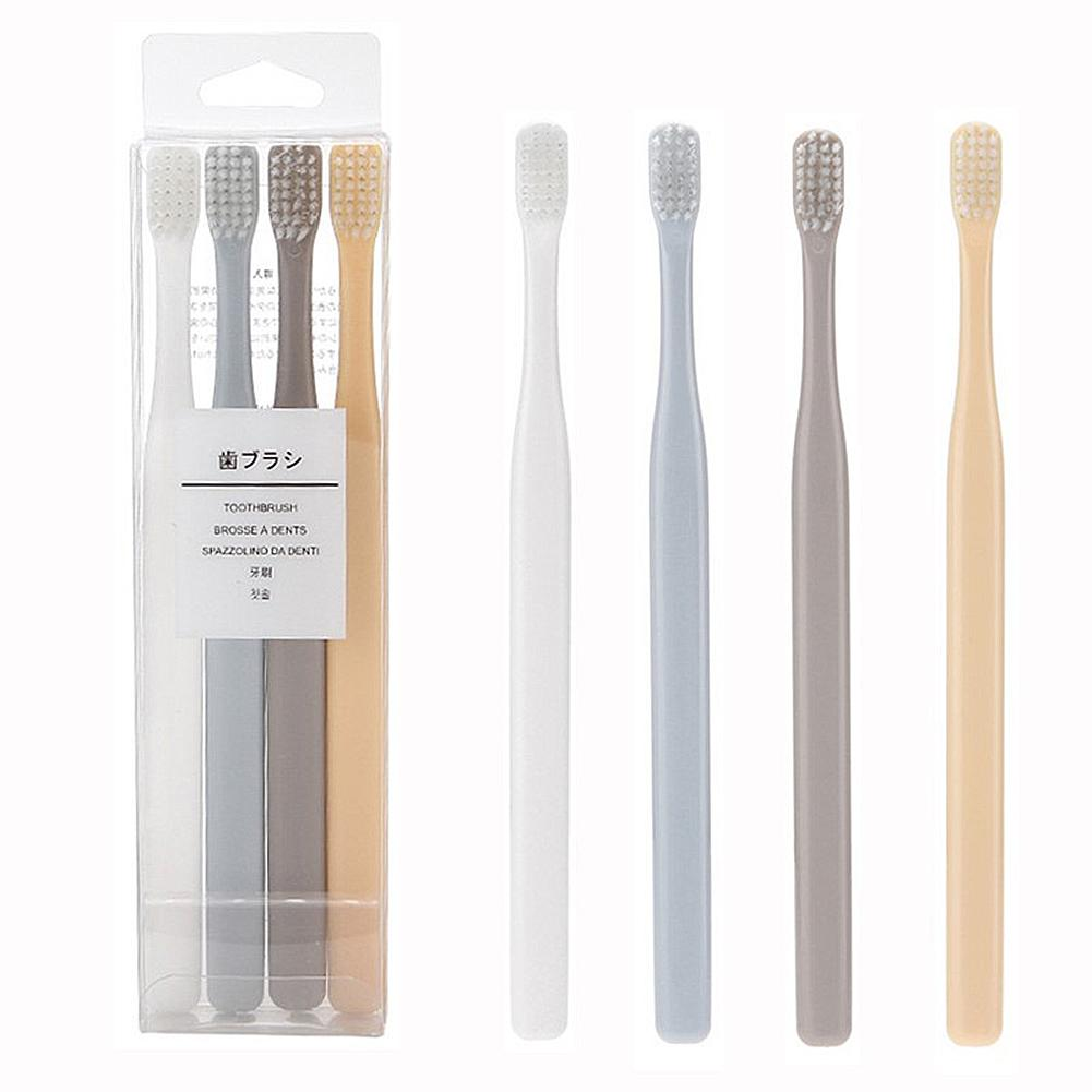 4Pcs Bamboo Toothbrush Soft Bristle Toothbrush Oral Cleanser Multi-Color Small Head Toothbrush Oral Nursing Care Tool For Family image