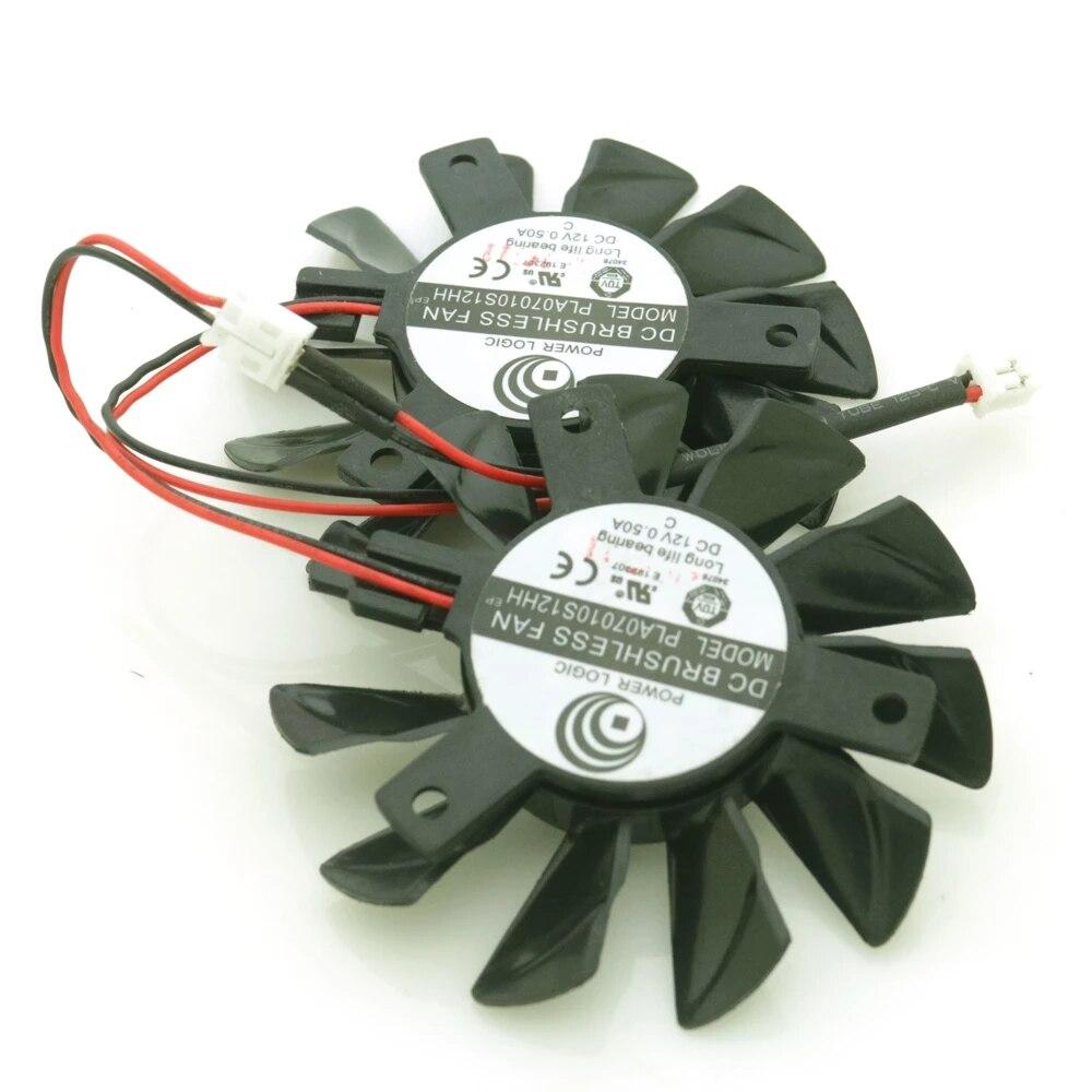 Ga71s2h pla07010s12hh 12v 0.50a 65mm para zotac gtx1050 gtx 1050 ti 4gb oc fã de refrigeração da placa gráfica 2pin