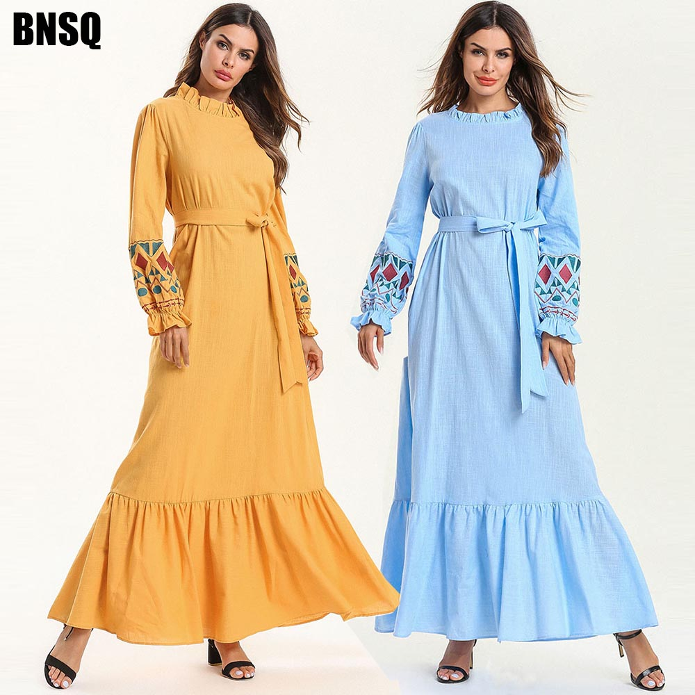BNSQ Special Price Break Code Cheap Sale Muslim Women Dress Abaya Maxi Dubai Hijab India Dress Arabic Caftan Islamic Clothing