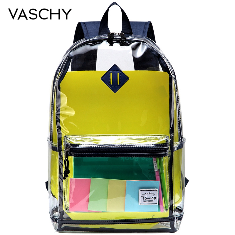 VASCHY Clear Backpack Fashion Transparent School Backpack For Men Women Water Resistant Rucksack With Reinforced Straps