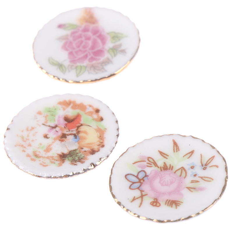 3PCS 1:12 Dollhouse Miniature Ornament Porcelain Flower Plate Art Dishes