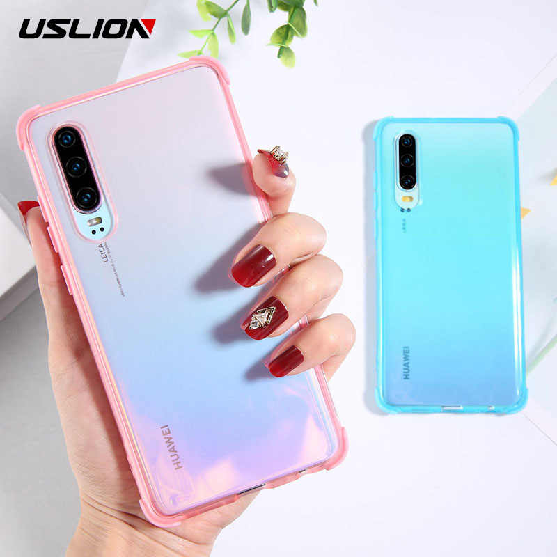 USLION Phone Case For Huawei Mate 20 Pro Transparent Shockproof Soft TPU Silicone Solid Color Cover For Huawei P30 Pro P30 Lite