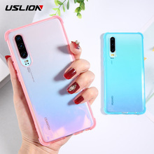 USLION Phone Case For Huawei Mate 20 Pro Transparent Shockproof Soft TPU Silicone Solid Color Cover P30 Lite