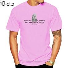 Carl Jung Quote-누가 내부에 보이는 꿈-Thinkershirts & trade; 남성용 반팔 티셔츠 Funny O 넥 T 셔츠