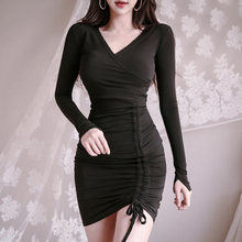 2019 autumn and winter new retro drawstring slim slimming sexy ladies bag hip tight dress