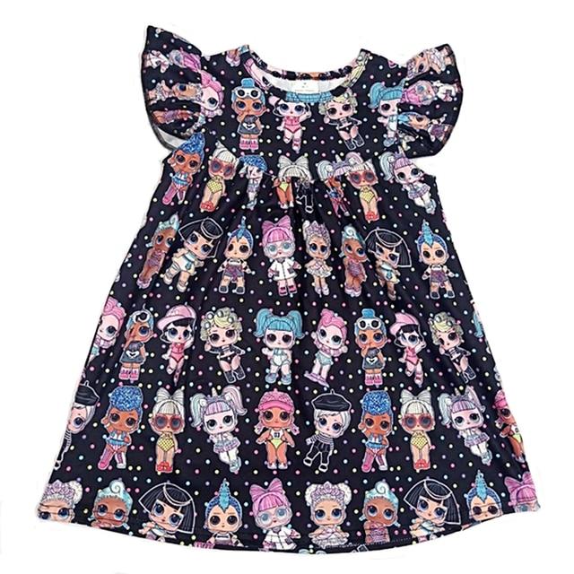 Hot sale baby dress girls printing pattern dresses kids party dress for kids children frocks designs