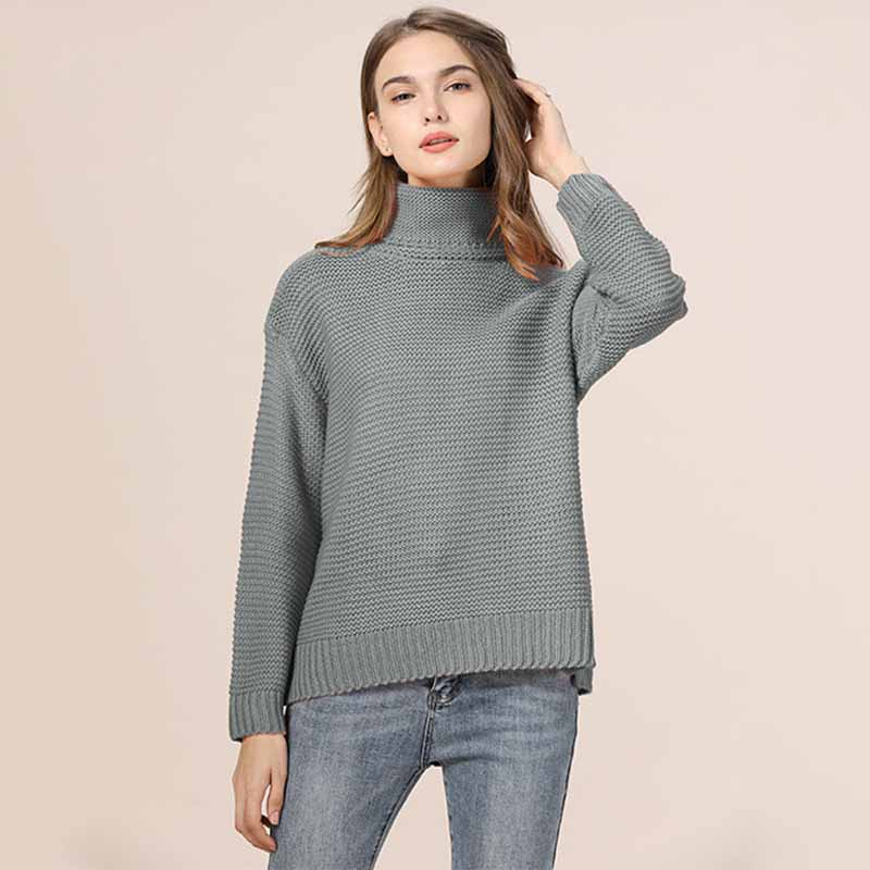 Casual Loose Autumn Winter Turtleneck Sweater Women Oversize Solid Knitted Sweaters Warm Long Sleeve Pullover Sweater Black Pink