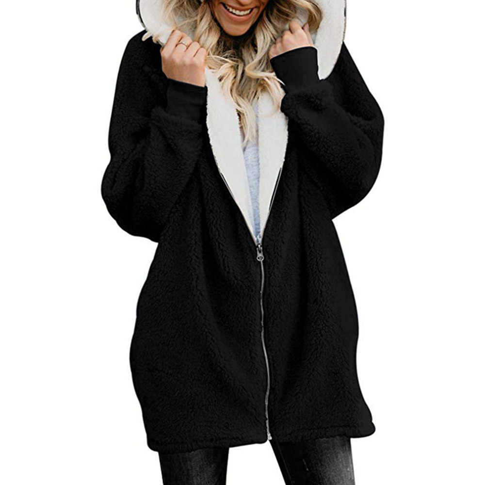 Wanita Jaket Mantel Musim Dingin Wanita Kardigan Wanita Hangat Jumper Fleece Bulu Imitasi Mantel Hoodie Lebih Tahan Dr Manteau Femme Plus Ukuran 5XL