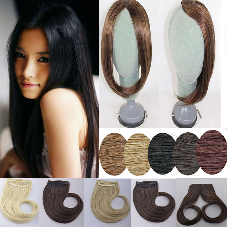 WEILAI Long Clip In On The Front Hair Bang Side Bangs Extension Of Hair Real Natural Synthetic Bangs Hair Piece Headwear
