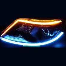 2pcs 45cm DC 12V car Turn Signal Flow Daytime Driving Light Guide Car LED DRL Headlight accessories