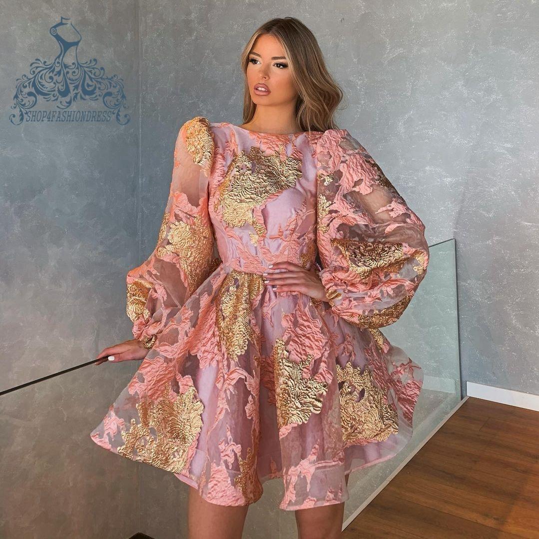 Ziemlich Rosa Organza Kurze Cocltail Kleid Mit Puff Lange Slleeves 2021 Moderne Rüschen Event Party Kleider Sexy Backless Prinzessin