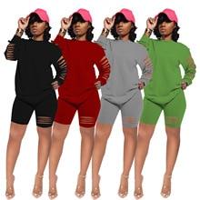 2021 Spring Casual Women Two Piece Set Hole O-neck Shirt + Short Pants Sportwear Tracksuit Soild Color Clothes For Women Outfit