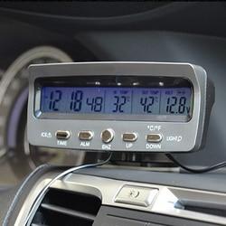Auto Klok Thermometer Hygrometer Meter Decoratie Ornament Interne/Externe Temperatuur Monitoring Auto Accessoires