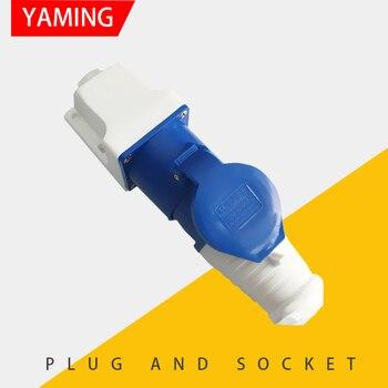 Enchufe Industrial y enchufe de 3 pines 32A, conjunto de montaje de superficie macho y hembra, aparato eléctrico azul 1