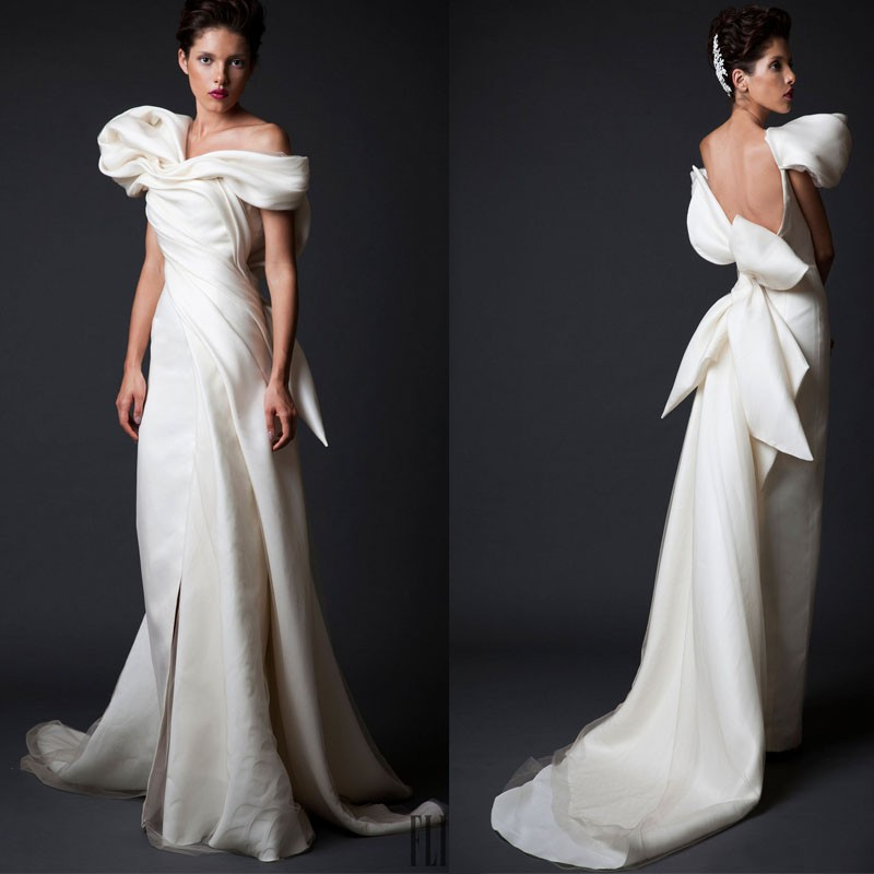 2018 Sheath Pleated Vestido De Noiva Backless Bow Elegant Robe De Soiree Bridal Gown Evening Mother Of The Bride Dresses