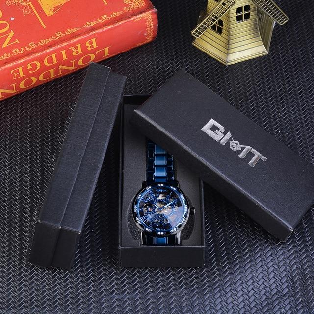 Winner Transparent Diamond Mechanical Watch Blue Stainless Steel Skeleton Watch Top Brand Luxury Business Luminous Male Clock 6