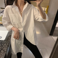 Shirt Women's 2019 Winter New Style Sense of Design Irregular Mid length Shirt Loose Fit Versatile Polo Collar Tops Fashion
