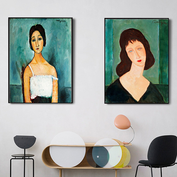 Classic Amedeo Modigliani Picasso Artwork Collection Abstract Canvas Print Painting Poster Wall Pictures Living Room Home Décor image